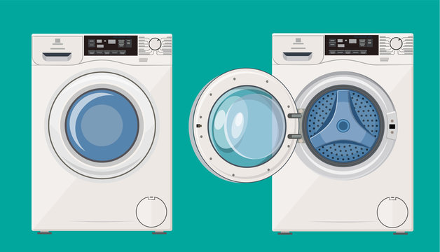 Washing machine with open and closed door