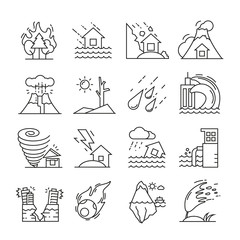 natural disaster icons thin line on white background