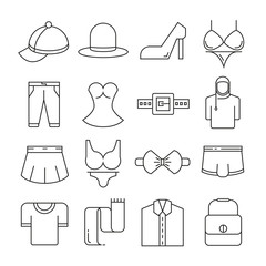 clothing and accessories icons thin line on white background