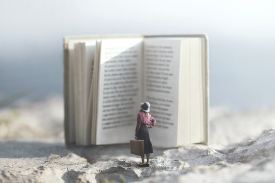 surreal journey of a woman inside the story of an adventurous book
