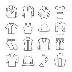 clothing and accessories icons set thin line style