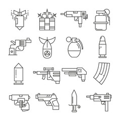gun and weapon icons thin line design on white background