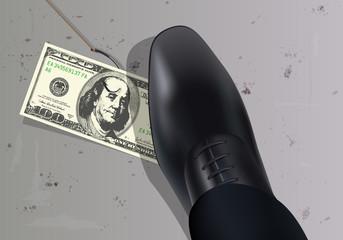 Un homme trouve un billet de cent dollars par terre retenu par un hameçon et met le pied dessus pour l'attraper
