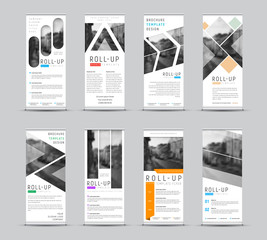 Wall Mural - Vector design of roll-up banners with different geometric shapes for a photo.
