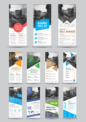 Wall Mural - Design of vector white roll-up banners with round, square, diagonal and triangular design elements and a place for photos