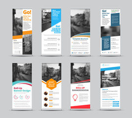 Wall Mural - Set of vector white roll-up banners with place for photo