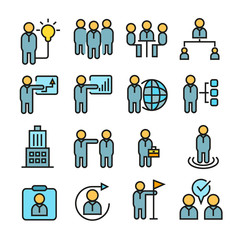 office and business management icons in color style