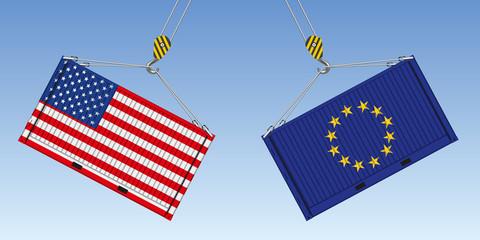 Illustration du choc entre deux conteneurs de marchandises, symbole de la guerre commerciale entre américains et Européens.