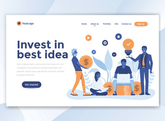 Flat Modern design of wesite template - Invest in best idea