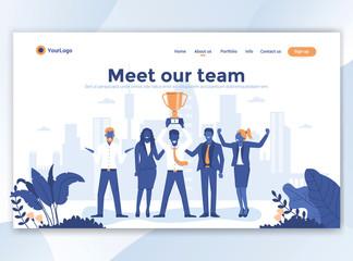 Flat Modern design of wesite template - Meet our team