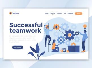 Flat Modern design of wesite template - Successful teamwork
