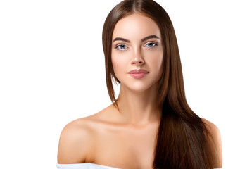 Woman with beautiful long hair isolated on white healthy and shine hairstyle