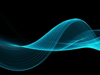 Poster Fractal waves Abstract Soft Color Blue Wave Background