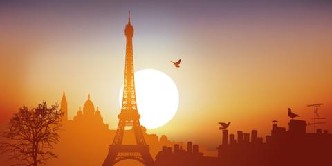 Vue de Paris avec la tour Eiffel et le Sacré-Cœur sur la butte de Montmartre, par une journée ensoleillée.
