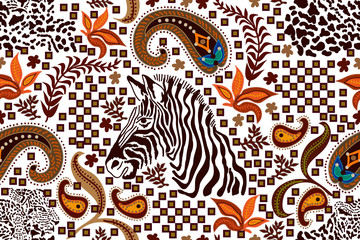 Ethnic paisley pattern with zebra print and leopard spots.