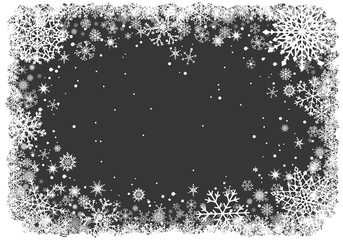Christmas greting card with white frame of snowflakes on dark grey background. New-Year winter vector illustration.