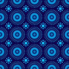 Shweshwe sun pattern blue