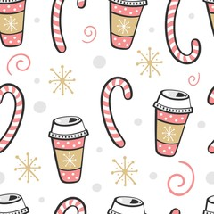 Christmas seamless pattern with coffee. Vector illustration.