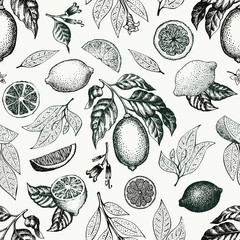 Lemon tree seamless pattern. Hand drawn vector fruit illustration. Engraved style. Vintage citrus background.