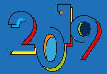 Carte de vœux 2019 avec un design tendance sur fond bleu
