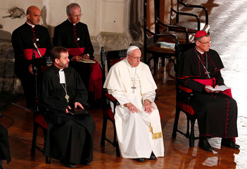 Pope Francis attends a ecumenical church service at the Riga Dome Cathedral in Riga