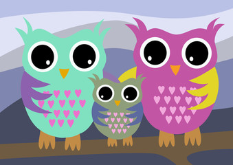 Wall Murals Birds, bees Owls family with mother and father and child color