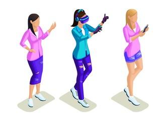 Isometrics young people, stylish girls, teenagers, playing virtual games, selfie, social networking