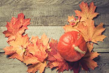 Orange pumpkin and maple leaves on wooden board. Copy space. Fall pattern.