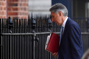 Britain's Chancellor of the Exchequer Philip Hammond arrives in Downing Street in London