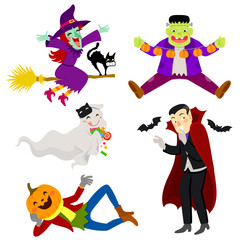 Set of funny and friendly-looking cartoon characters for Halloween
