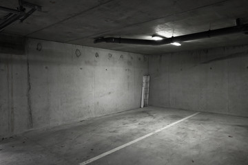 Abstract empty parking lot interior photo