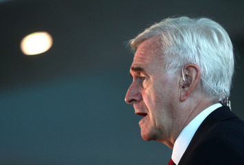 Britain's Shadow Chancellor of the Exchequer John McDonnell talks to the media at the annual Labour Party Conference in Liverpool