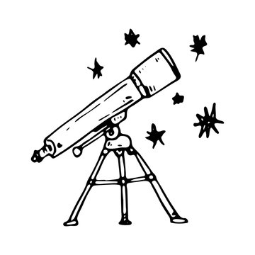 Hand drawn telescope doodle icon. Hand drawn black sketch. Sign symbol. Decoration element. White background. Isolated. Flat design. Vector illustration