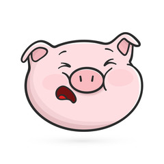 Crying emoticon icon. Emoji pig is crying without teardrops