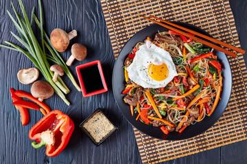 Stir fried korean Japchae, top view, flat lay