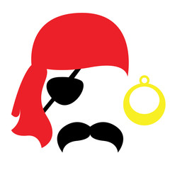 Pirate photo booth props face set - mustache, eyecup, earring