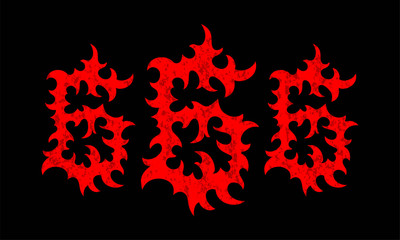 Cartoon illustration of the textured red numbers 666 on black background. Hell, death and satan symbol.