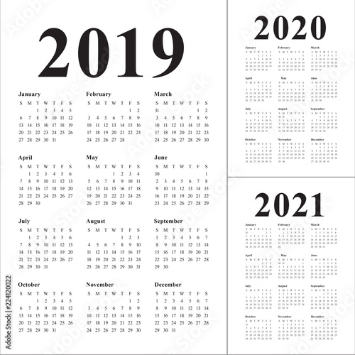 year 2019 2020 2021 calendar vector design template