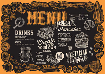 Brunch menu for restaurant with frame of graphic vegetables.