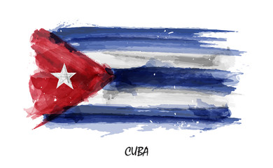 Realistic watercolor painting flag of Cuba . Vector