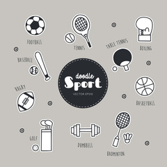 Vector set of sport icons. Doodle.