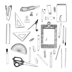 set of stationary , hand draw element sketch vector. work place or school equipment.