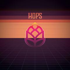 beer hops, beer ingredients, hops in retro graphic