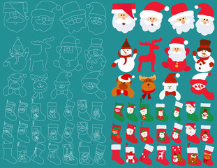 set of New Year faces of Santa Claus and snowman