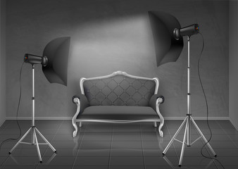 Vector realistic background, room with gray wall and floor, photo studio with empty sofa, couch, lamps and softboxes on tripod stands.Mockup with modern lighting equipment for professional photography