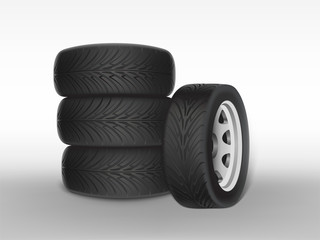 Vector 3d realistic black tyre stacked in pile, shining steel and rubber wheel for car, automobile, isolated on white. Modern rim, tread - automotive equipment for mechanic shop, service.