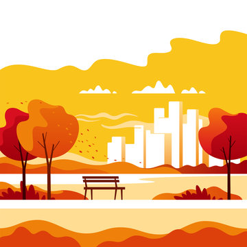 Autumn landscape. City park with town buildings on a background. Vector illustration.