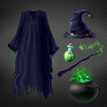 Vector set with witch costume for Halloween party and magical accessories isolated on transparent background. Wizard dress and hat, boiling cauldron with poison, magic wand and flask with potion