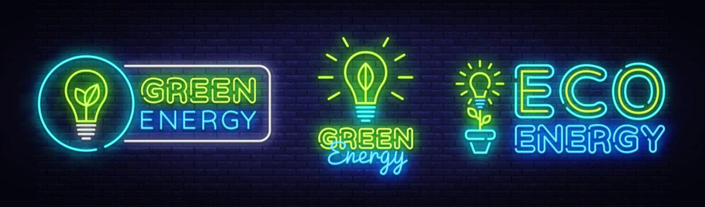 Big Collection Neon Signs. Green Energy Neon Logos Vector. Green Energy neon text, design template, modern trend design, night neon signboard, night advertising, light banner, light art. Vector
