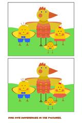 Find 5 differences. Chicken. .Teaching game for preschool children